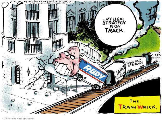 My legal strategy is on track. Rudy. Jared is disposable. Trump paid Stormy. Fox blah blah. The Train Wreck.