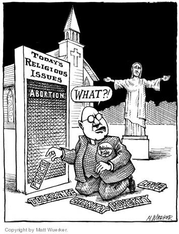 Todays Religious Issues.  Abortion.  Peace.  Tolerance.  Charity.  Poverty.  Love. Religious Right.  What?