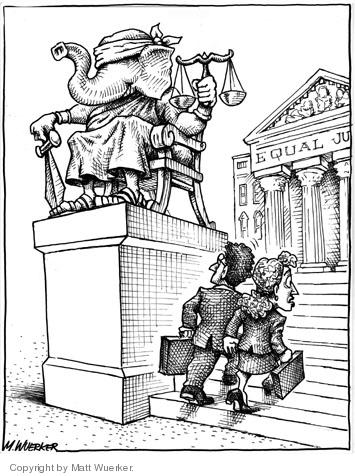 "No caption.  (A Justice statue is placed before an ""Equal Justice"" building. Lady Justice has been replaced by a republican elephant.)"