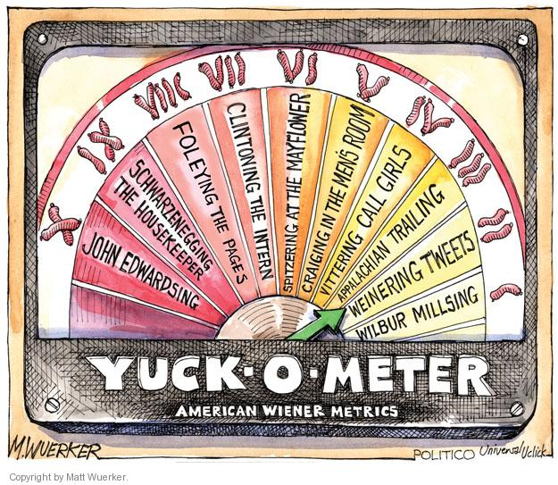Yuck-o-meter.  American Wiener metrics.  I. Wilbur Millsing. II. Weinering tweets.  III.  Appalachian trailing.  IV.  Vittering call girls.  V.  Craiging in the mens room.  VI.  Spitzering at the Mayflower.  VII.  Clintoning the intern.  VIII.  Foleying the pages.  XI.  Schwarzenegging the housekeeper.  X.  John Edwardsing.