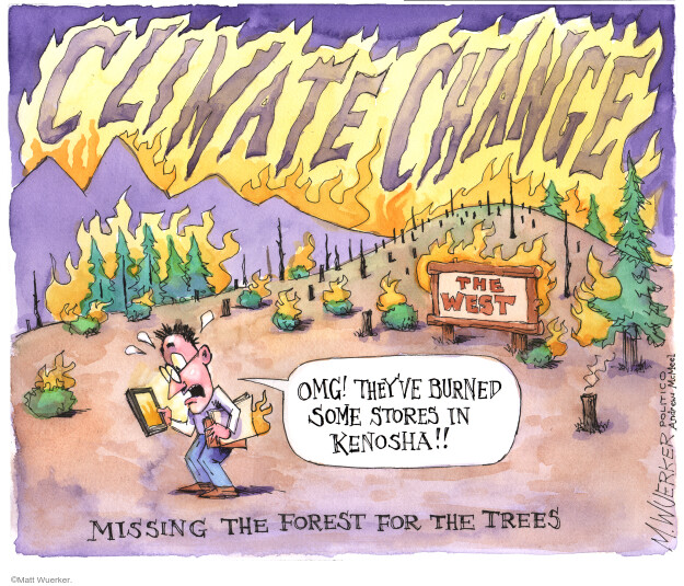 Climate change. The West. OMG! Theyve burned some stores in Kenosha!! Missing the forest for the trees.