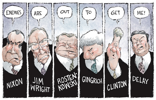 Nixon.  Enemies.  Jim Wright.  Are.  Rostenkowski.  Out.  Gingrich.  To.  Clinton.  Get.  DeLay.  Me!