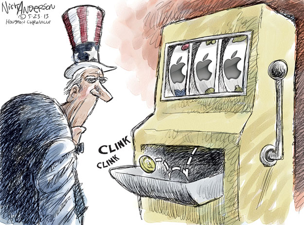 Clink clink. (Uncle Sam stands in front of a slot machine. Three Apple logos line up and return a jackpot of one coin).