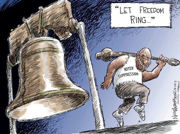 """Let freedom ring � "" Voter suppression."