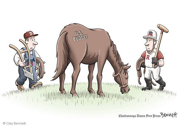 D.  U.S. Budget.  R.  (Democrat, as a stable worker, approaches a horse.  Republican, as a polo player, approaches from opposite direction.)