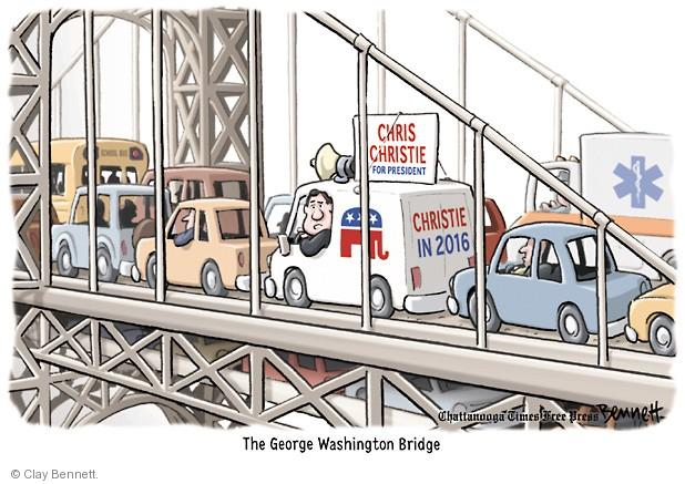 Chris Christie for President. Christie in 2016. The George Washington Bridge.