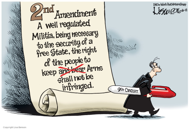 2nd Amendment. A well regulated Militia, being necessary to the security of a free State, the right of the people to keep and bear (crossed out) Arms shall not be infringed. 9th Circuit.