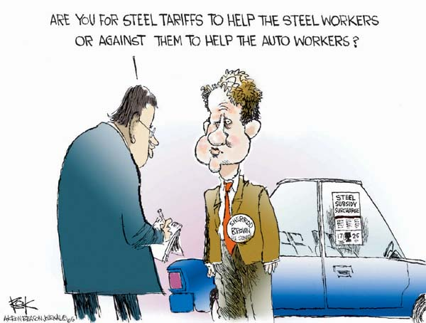 Are you for steel tariffs to help the steel workers or against them to help the auto workers?  Sherrod Brown for Senate.  Steel Subsidy Surcharge.