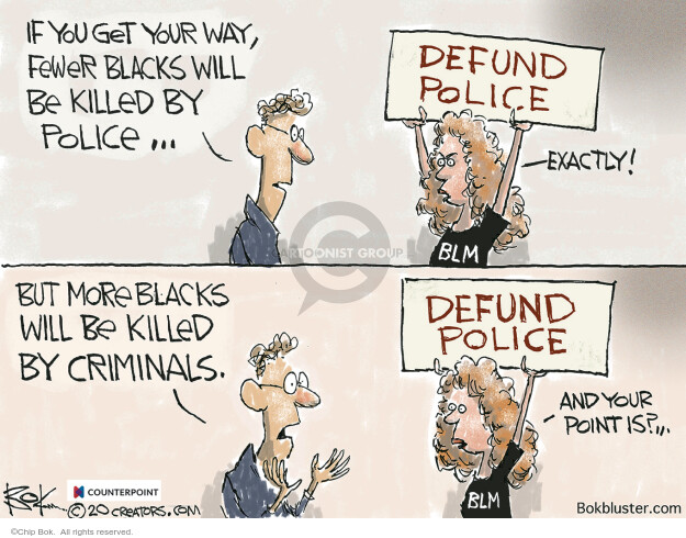 If you get your way, fewer blacks will be killed by police … Defund police. Exactly! BLM. But more blacks will be killed by criminals. And you point is?