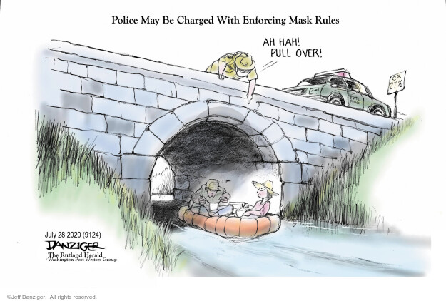 Police May Be Charged With Enforcing Mask Rules. Ah hah! Pull over! CR 27½. State Police.