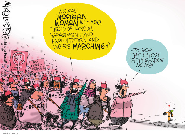 "We are western women who are tired of sexual harassment and exploitation and were marching!!! To the latest ""Fifty Shades"" movie! #resist #metoo The future is female. ?"