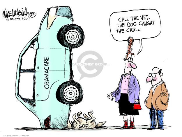 Call the vet. The dog caught the car … Obamacare. GOP.