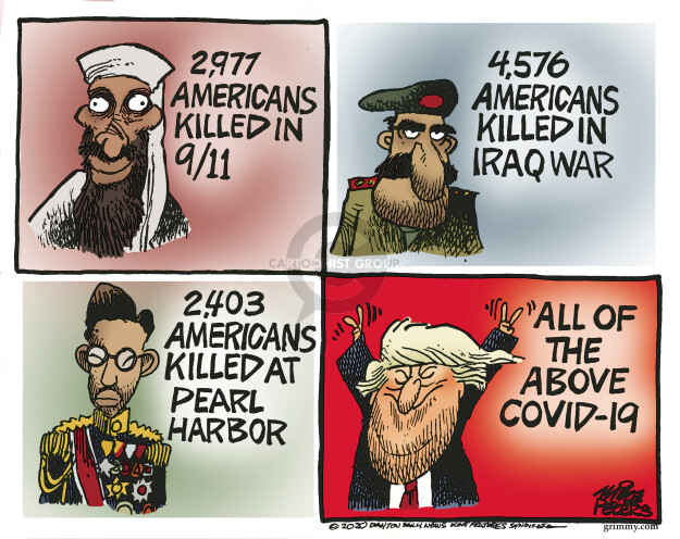 2,977 Americans killed in 9/11. 4,576 Americans killed in Iraq war. 2,406 Americans killed at Pearl Harbor. All of the above COVID-19.