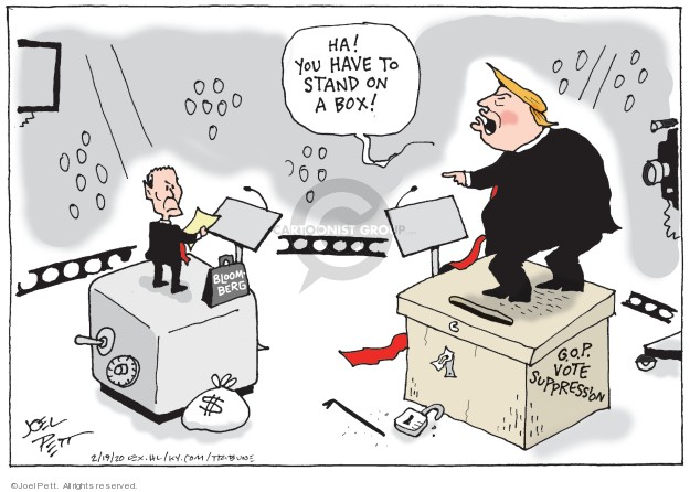 Ha! You have to stand on a box! G.O.P. vote suppression. Bloomberg. $
