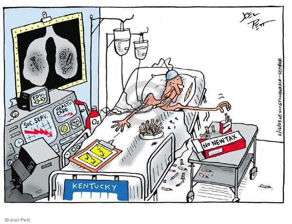 No caption. (Old man in hospital bed reaching for cigarettes.  Monitors show declines in political issues.)