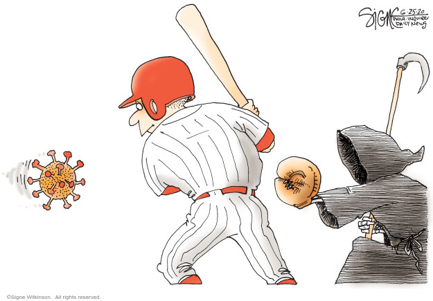 No caption (A baseball player is up to bat and hes been pitched a Coronavirus cell. The Grim Reaper is the catcher).