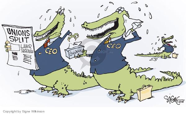 Unions Split.  Labor Shrinking.  CrocoNex.  CEO.  CEO.  (In response the split of the AFL-CIO, management cries crocodile tears.)