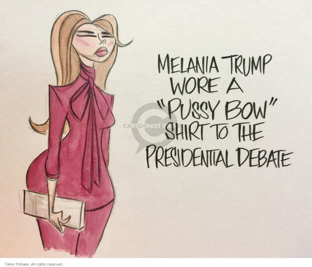 "Melania Trump wore a ""pussy bow"" shirt to the presidential debate."
