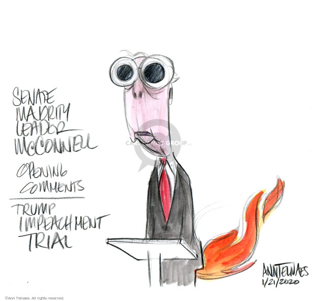 Senate Majority Leader McConnell. Opening comments. Trump impeachment trial.