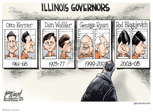 Illinois governors. Otto Kerner. 1961-68. Dan Walker. 1973-77. George Ryan. 1999-2002. Rod Blagojevich. 2003-08.