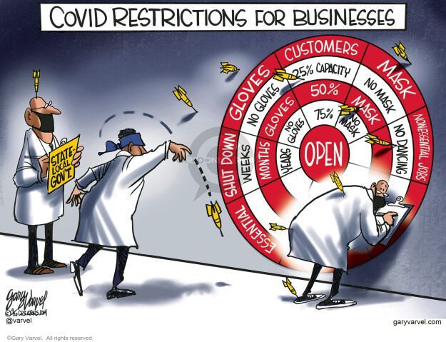 COVID Restrictions for Businesses. Gloves. No gloves. Customers. 25% capacity. 50%. 75%. Mask. No mask. Nonessential jobs. No dancing. Essential. Shut down. Weeks. Months. Years. Open. State – Local govt.